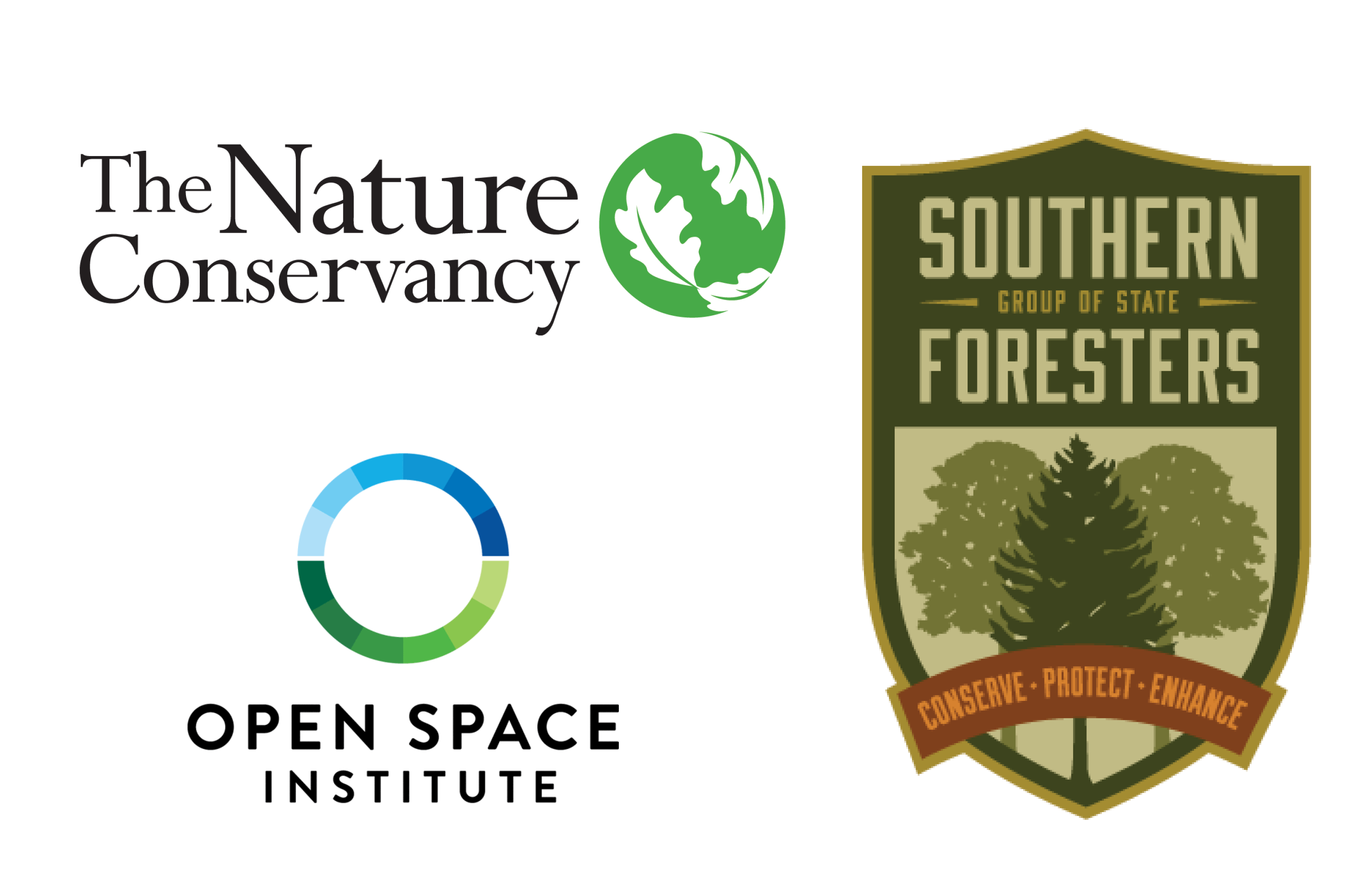 The Nature Conservancy, Open Space Institute, and Southern Group of State Foresters logos.