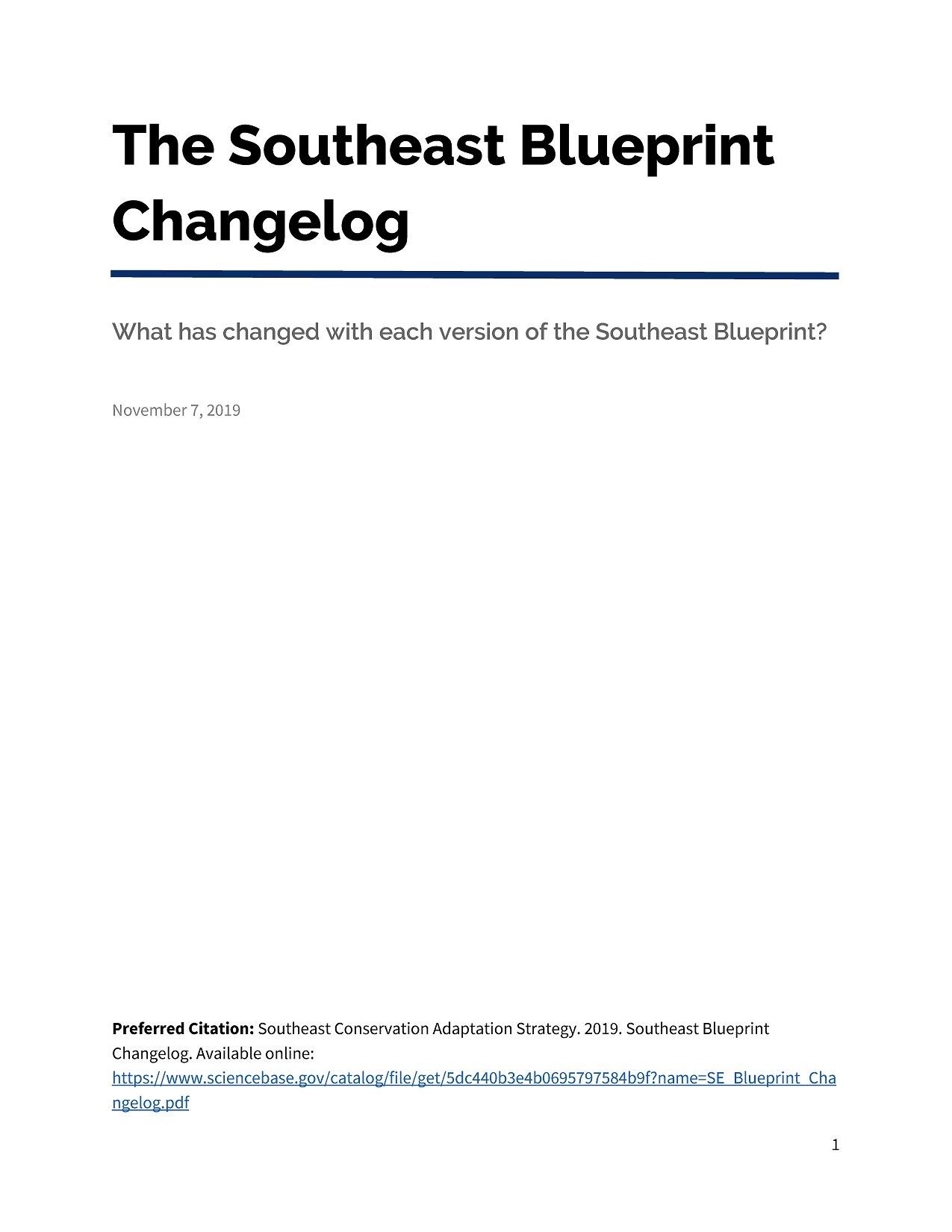 Cover of changelog.